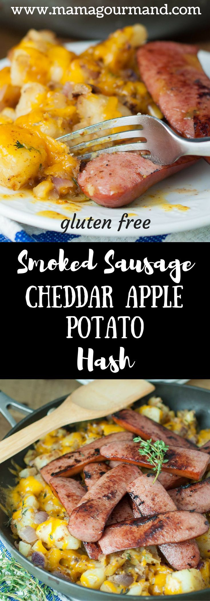 Smoked Sausage with Cheddar Apple Potato Hash is an easy skillet meal your family will love. Smoked sausage on a bed of apple, potato hash with cheddar on top. Yummy! http://www.mamagourmand.com