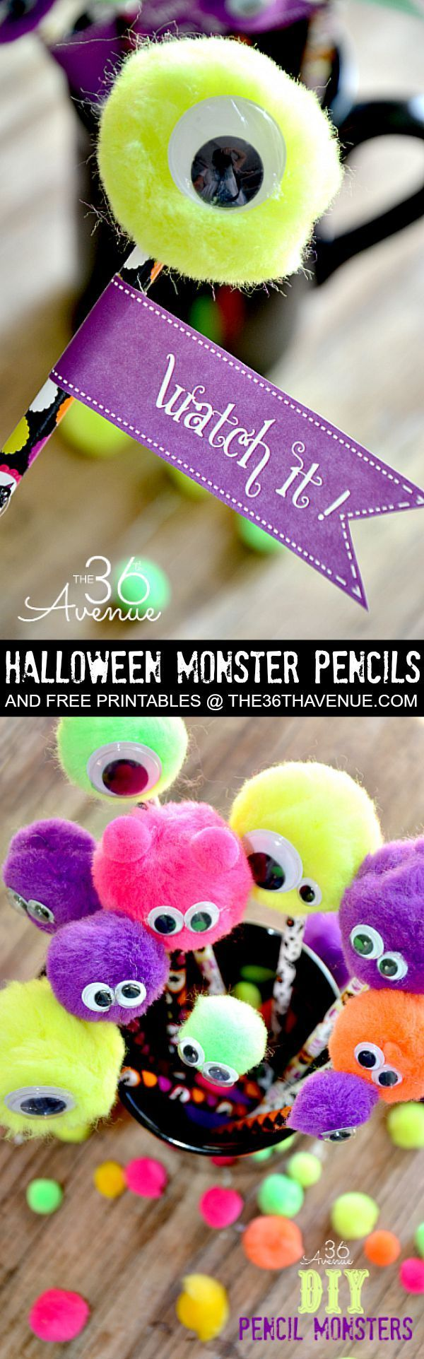 Halloween - Halloween Adorable Monster Pencils and Free Printable at http://the36thavenue.com