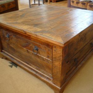 Large Wooden Coffee Table With Drawers