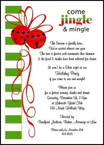 Business Mingle Jingle Invitations for Holiday Party. Enjoy guaranteed cheapest prices on your customized mingle jingle business invitation designs for Christmas and all other holidays, company invitations wording samples, and more discounted $.99 cents per invite number 7860IBU-BH at InvitationsByU.com