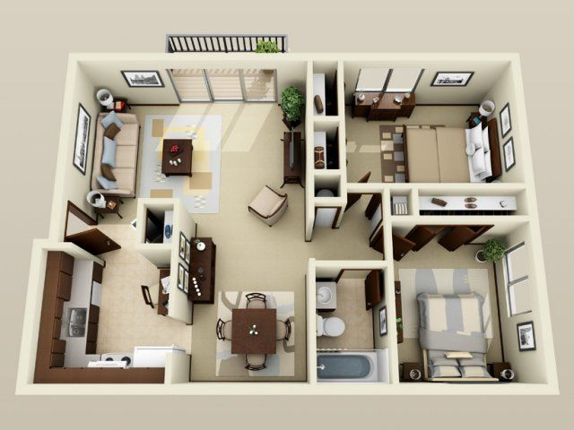 50 Two Bedroom Apartment/House Plans