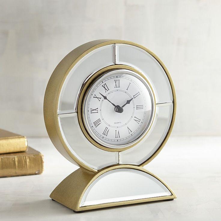 Mirrored Round Desk Clock Gold