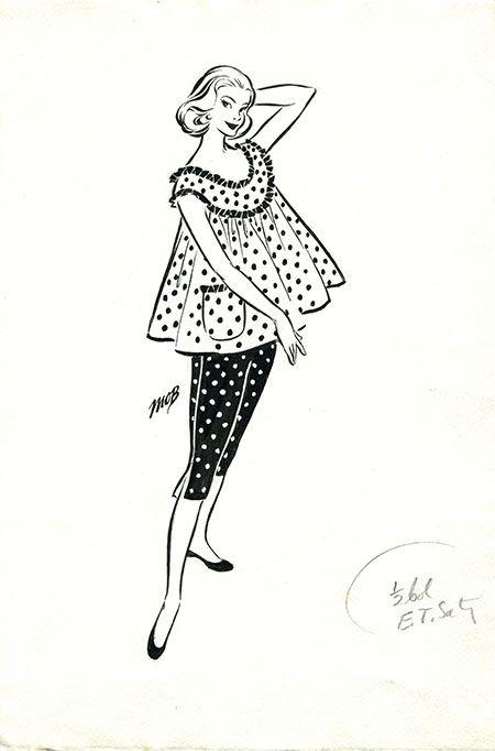 Margaret Oliver Brown fashion illustration (archive reference: DC/51/2/13).