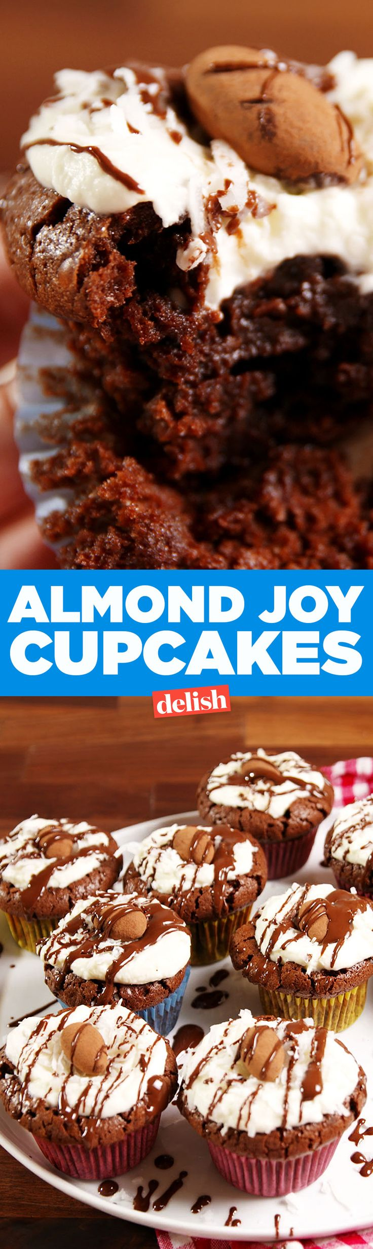 These flourless Almond Joy Cupcakes can totally pass on a low-carb diet. Get the recipe on Delish.com.