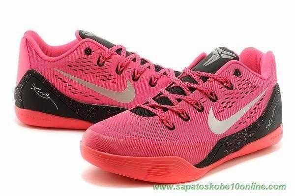 "tenis de basket Nine Vermelho / Preto ""Think Rosa"" Nike Kobe 9 Low 653972-121"