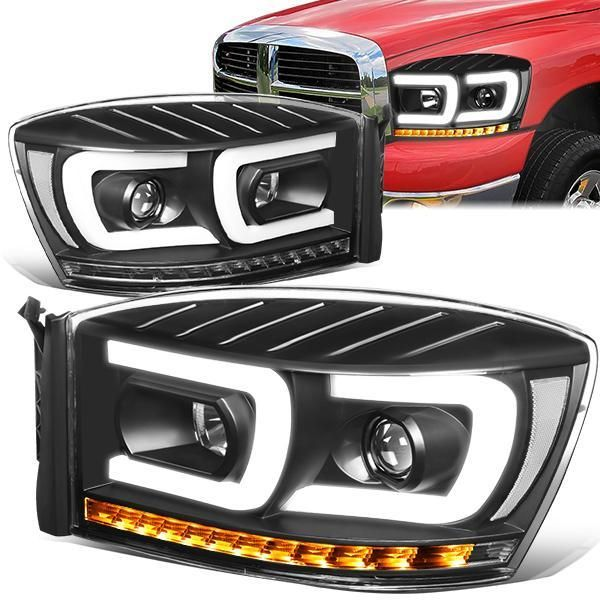 06 09 Dodge Ram 1500 2500 3500 Led Drl Sequential Turn Signal Projector Headlights Black In 2020 Projector Headlights Headlights Donk Cars