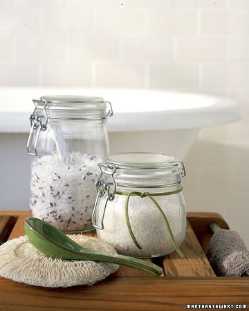 BATH SALTS:  Turn a plain old soak into a real retreat with bath salts you make yourself. Start with about 4 cups of sea salt or kosher salt. Mix in several drops of an aromatic bath oil (available at bath and beauty stores) and, if you wish, dried fragrant plants, such as lavender or eucalyptus. Pour into a jar for yourself or to give as a gift. Use a few spoonfuls of salts per bath.