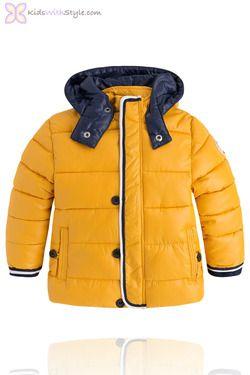Boys Yellow Padded Hooded Winter Coat