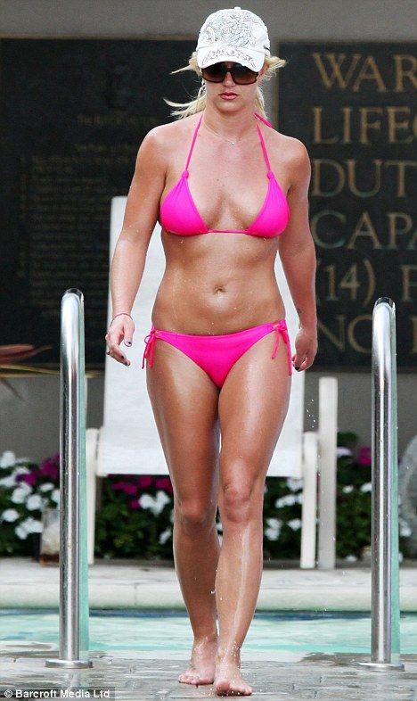 Britney Spears in a pink bikini at Ritz Carlton hotel