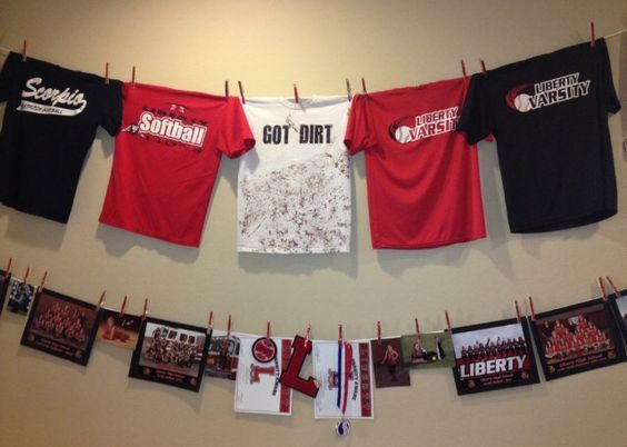 sports-shirt-bunting | DIY Graduation Party Ideas for High School | DIY College Graduation Decorations Ideas