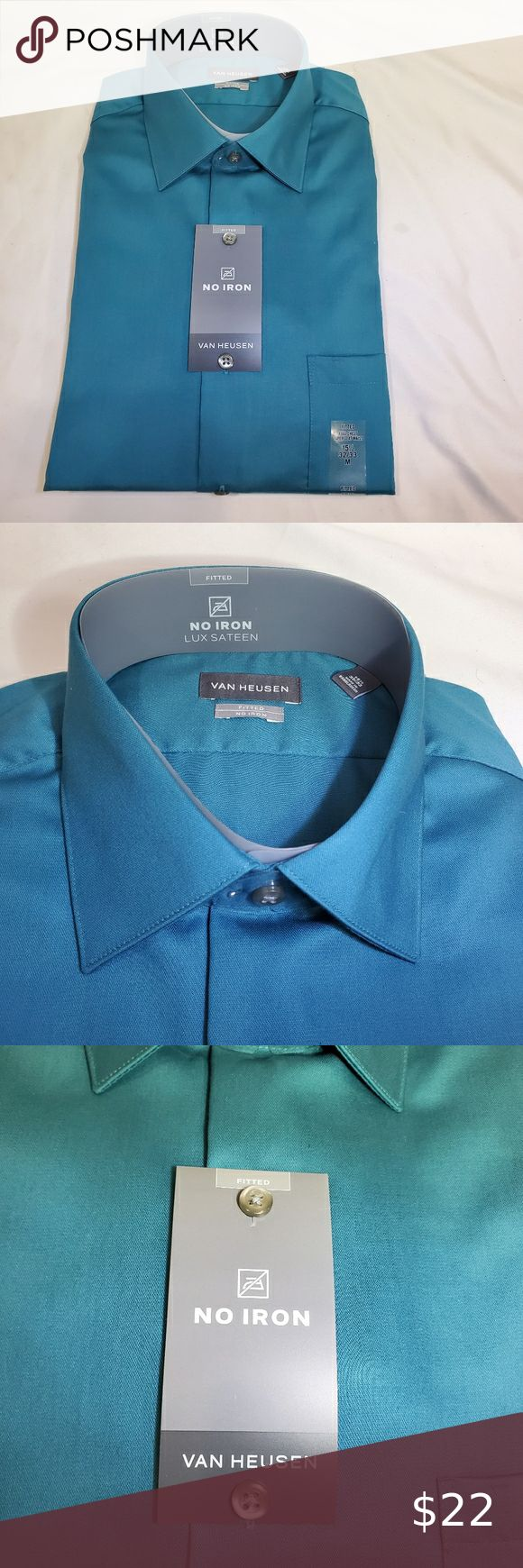 Van Heusen No Iron Lux Sateen Mens Dress Shirt Mens Shirt Dress Dark Blue Dress Shirt Long Sleeve Fitted Dress [ 1740 x 580 Pixel ]