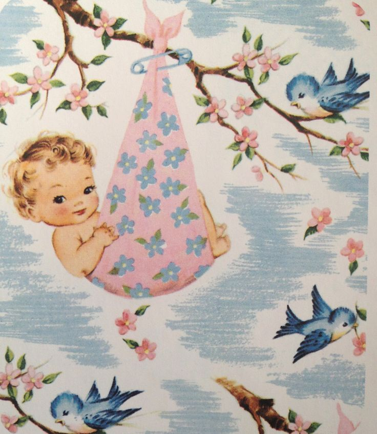 vintage baby shower wrapping paper