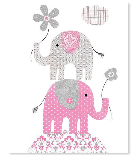 Gray and Pink Elephant Nursery Decor Girl's por SweetPeaNurseryArt