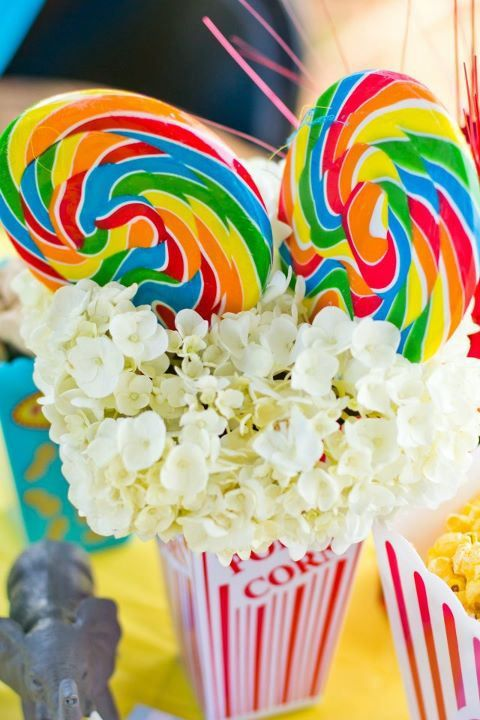 CIRCUS PARTY .. POPCORN AND CANDY FLORAL ARRANGEMENT