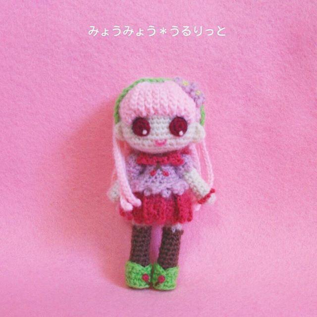 さらさらストレートロングヘアのよしのちゃん♪ 桜をイメージした春な女の子です!  #あみぐるみ #amigurumi #amigurumidoll #ヒトガタ #かぎ針編み #crochet #ハンドメイド #handmade #桜 #春
