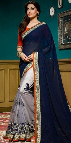 Women's Classic Looking Net Navy Blue And Grey Ethnic Saree.