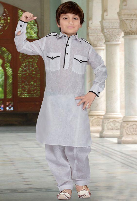 White Cotton Silk Kids Pathani Kurta Set