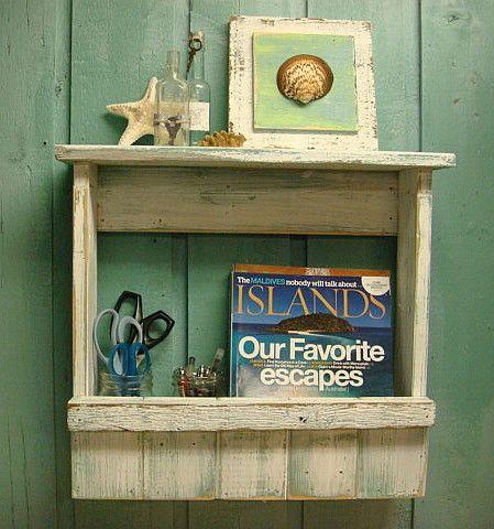 Shelf Magazine Wine Rack Weathered Wood Beach House Style