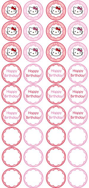 173 best hello kitty birthday party ideas images on for Hello kitty cupcake topper template