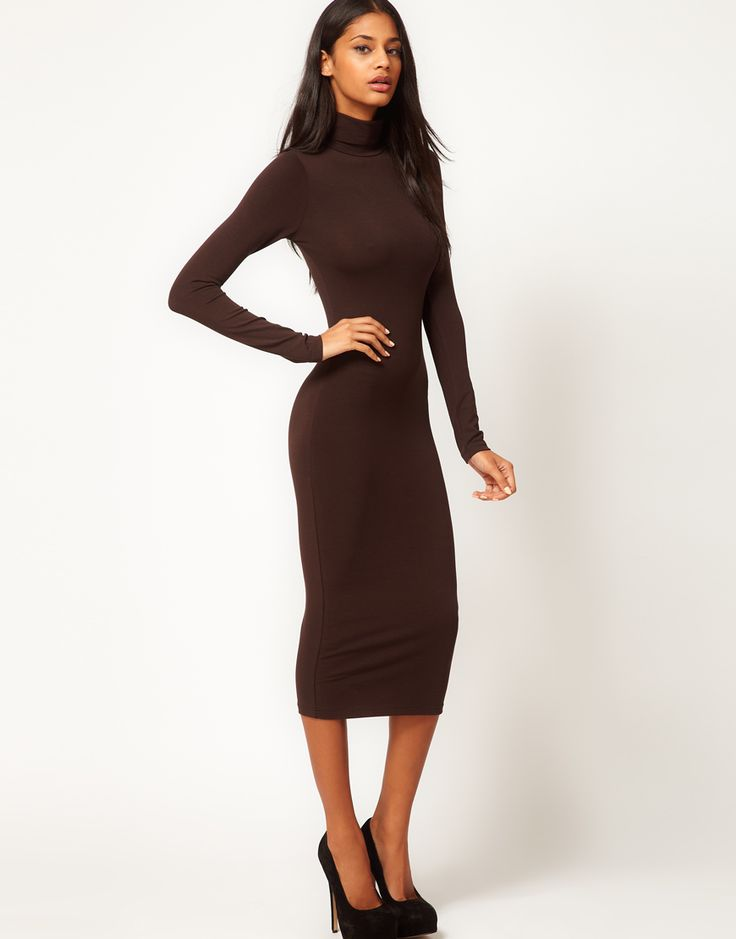 Asos Midi Bodycon Dress With Poloneck And Long Sleeves - Gowns and
