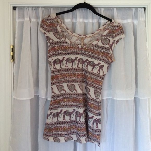 Camel top (S) Free people shirt with camels. Really cute! Barely worn at all. Free People Tops