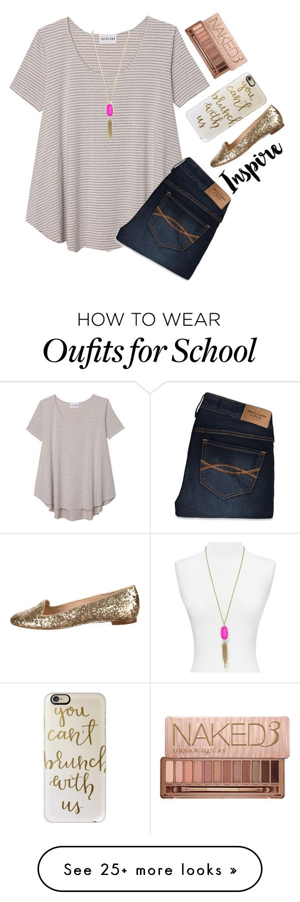 """10 days left of school"" by emmagracejoness on Polyvore featuring Olive + Oak, Casetify, Kate Spade, Urban Decay, Abercrombie & Fitch and Kendra Scott"