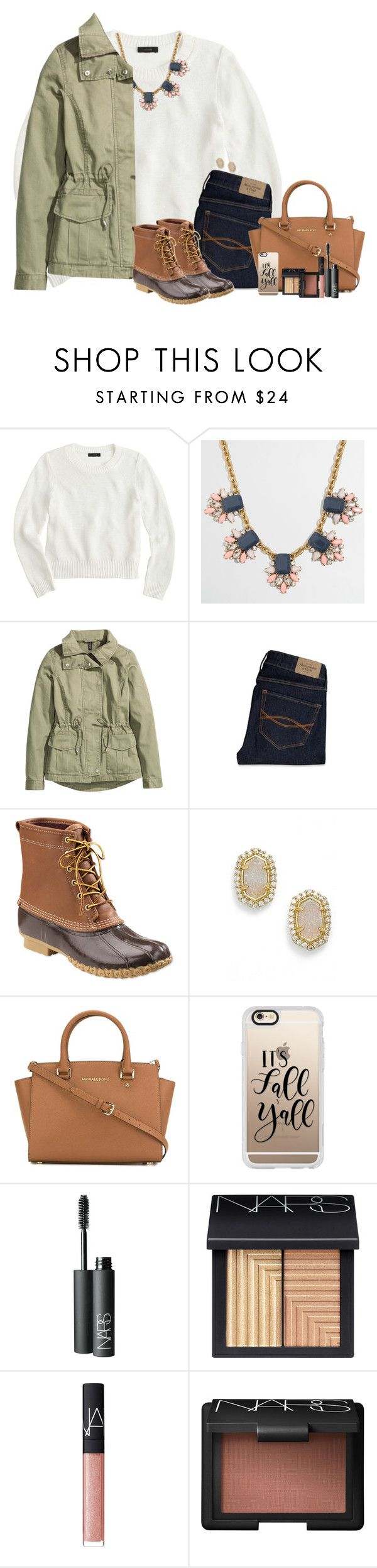 """""""Contest entry!!"""" by smiles-iv ❤ liked on Polyvore featuring J.Crew, H&M, Abercrombie & Fitch, L.L.Bean, Kendra Scott, MICHAEL Michael Kors, Casetify and NARS Cosmetics"""
