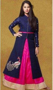Navy Blue Color Silk A-line Style Party Wear Kids Lehega Dress | FH519678926 #girls , #dress , #anarkali , #lehenga , #party , #gowns , #designer , #fashion , #boutique, #baby , #teenagers , #cloth , #readymade , #salwar , #kameez , #wear , #heenastyle , #online , @heenastyle , #ashin , #indian , #dupatta , #churidar , #ethnic