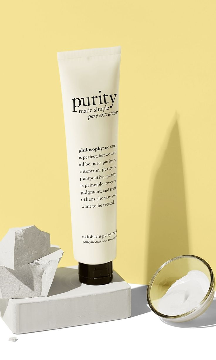 the new purity pore extractor mask gently exfoliates and unclogs pores, with a creamy whipped white clay formula.