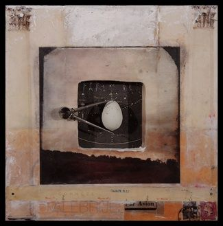 """Graceann Warn Distance + Observation series (Landscape/Egg), 2013 11 """" x 11 """" x 2 """" Assemblage w/paper, wax and objects on wood panel, framed Private commission"""