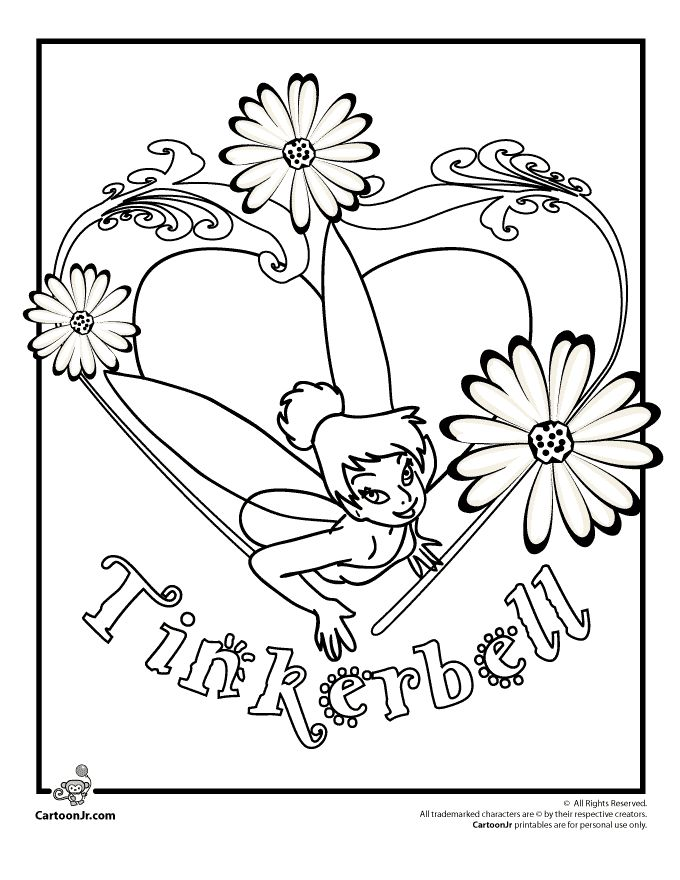 Tinkerbell Coloring Pages To Print And Flowers Page Cartoon Jr