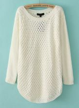 White Long Sleeve Hollow Knit Pullover Sweater US$31.80