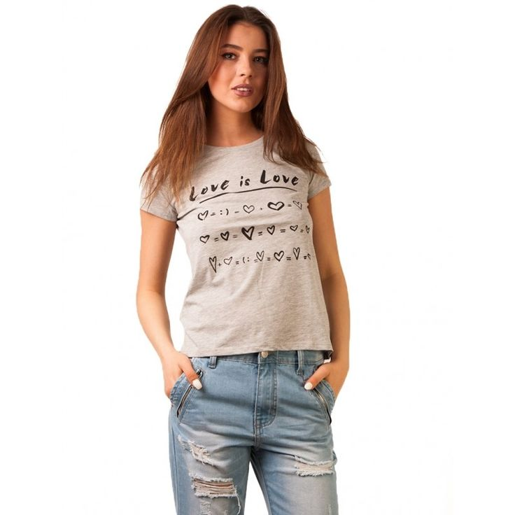 Tricou Cu Imprimeu Love Is Love Grey - Tandos