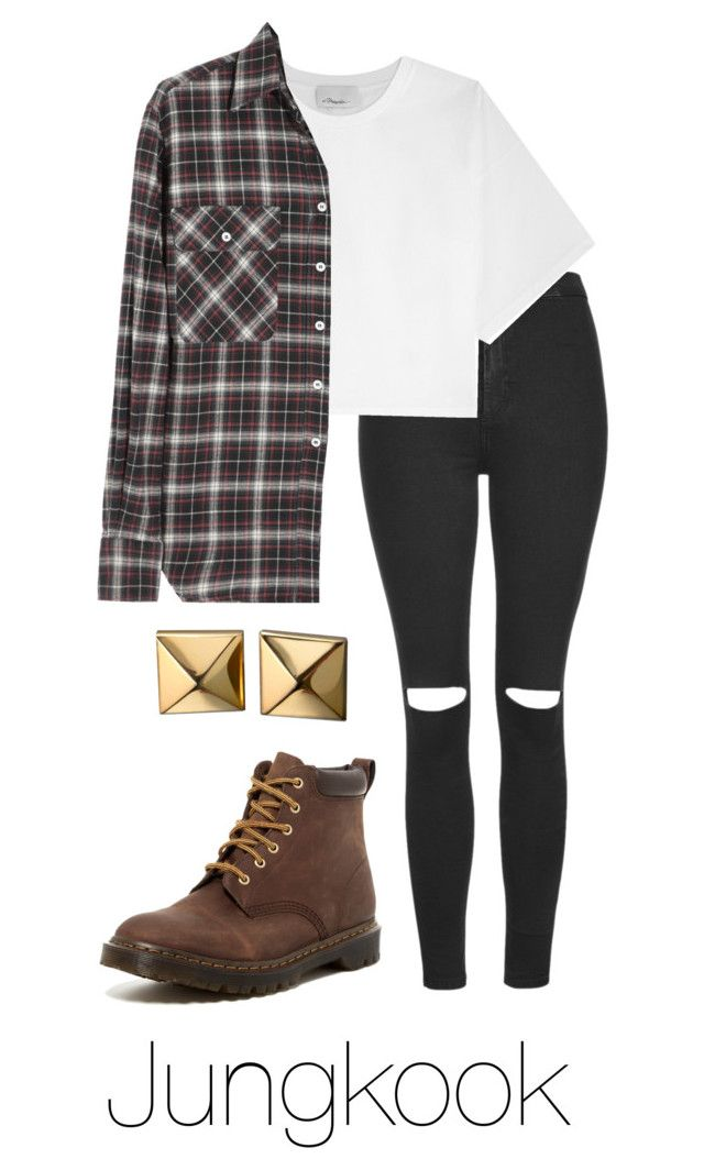 """RUN M/V: Jungkook"" by btsoutfits ❤ liked on Polyvore featuring Topshop, 3.1 Phillip Lim, R13, Dr. Martens and Waterford"