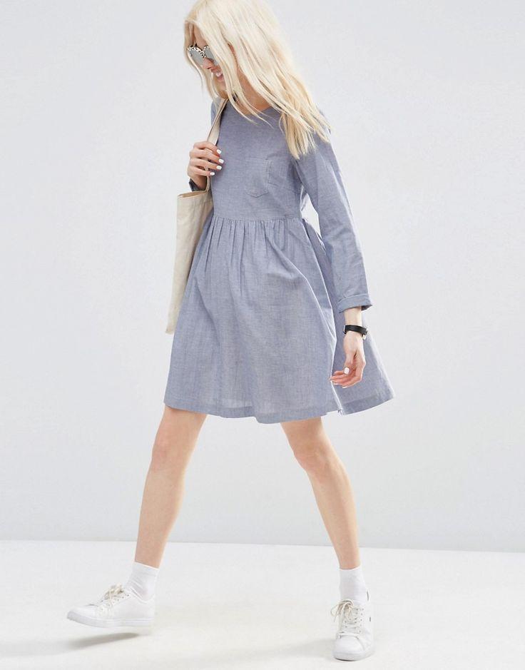Image 4 - ASOS Petite - Robe tunique à manches longues chambray