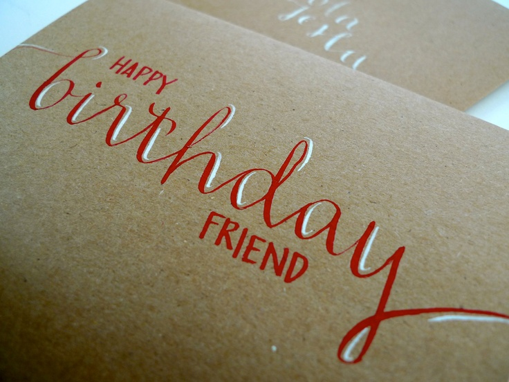 Calligraphy Birthday Card - Red and White Ink on Kraft Paper