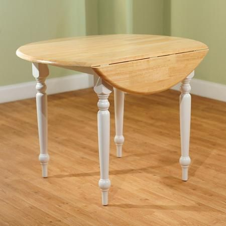 Round Drop-Leaf Dining Table, White/Natural - Walmart.com