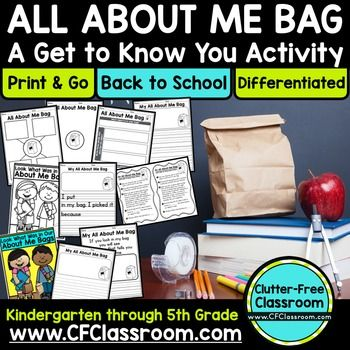 ALL ABOUT ME BAG PROJECT Back to School Ideas / Writing Activity - This 10 page resource include a tag to attach to paper lunch bags for students to take home, decorate, and use to bring an item in. You'll also receive graphic organizers to plan out the writing process and differentiated writing papers. Use this activity in your preschool, Kindergarten, 1st, 2nd, 3rd, 4th, or 5th grade classroom to create a great back to school bulletin board for the first week of school! Click through now!