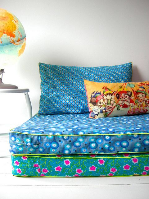 instead of bean bags in the kids' rooms? or in addition? loving the piping and small throw pillow for color