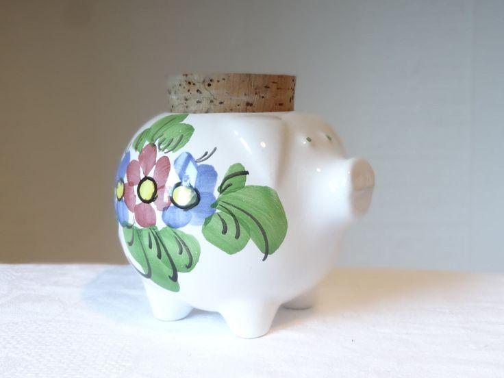 Guldkroken Hjo Sweden Ceramic Pottery Pig Piggy Figure Figurine Bank Container w/ lid. Vintage Scandinavian Swedish Mid Century Retro Decor by OlgaVintageStore on Etsy