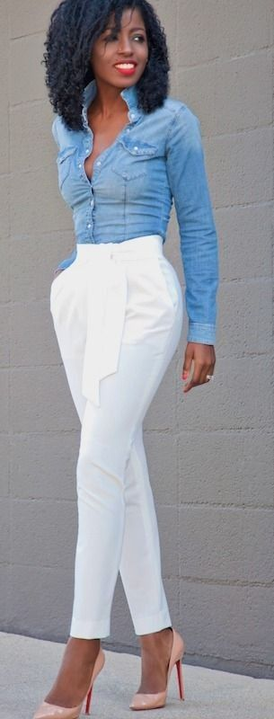Style Pantry | Fitted Denim Shirt + Tie Front Tapered Pants #style
