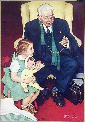 Rarely seen poster by Norman Rockwell for Upjohn Pharmaceutical Co. Very charming, medical image of concerned little girl with her sick doll. (1942)