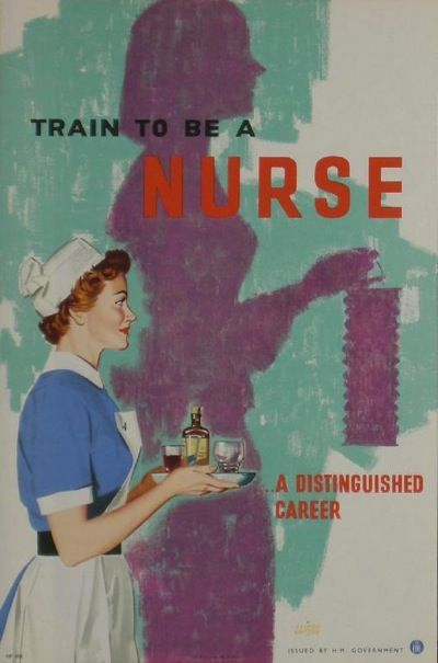 Train to be a NURSE: A Distinguished Career. Art by Clixby Watson, UK WWII