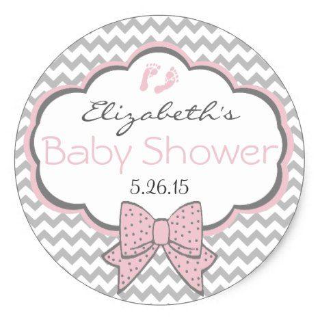 Pink and Grey Chevron-Baby Shower Classic Round Sticker