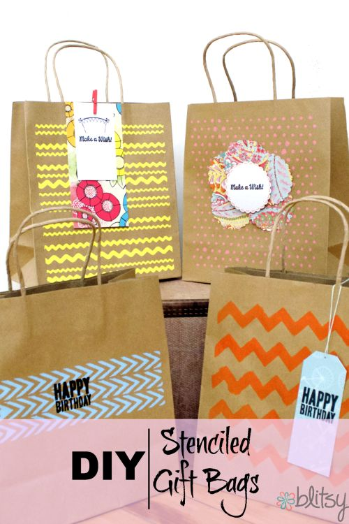 DIY Stenciled Gift Bags | Crafting Ideas I'd Like to Try | Pinterest