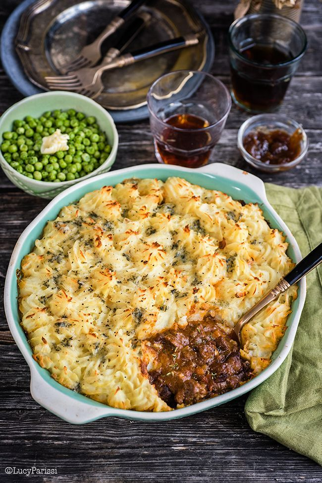 Proper British food: Beef Cottage pie with Stilton Mash - a hearty, crowd pleasing family meal. (Cheese Steak Pie)