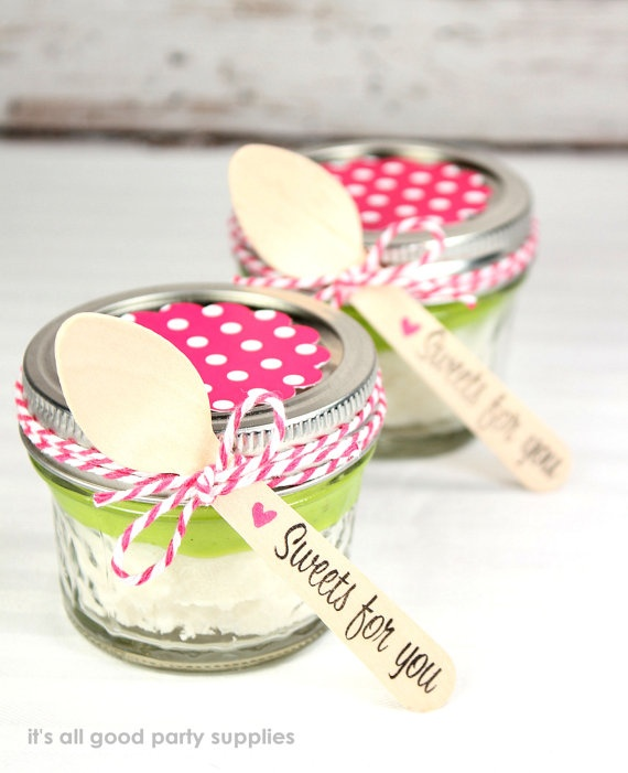Small desserts in a jar with our small wooden spoons and new tags for the tops of the jars! Great for weddings, showers and birthday treats.