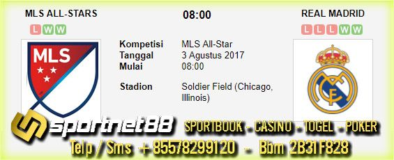 Prediksi Skor Bola MLS All Stars vs Real Madrid 3 Agt 2017 MLS All-Star Pagi hari Kamis jam 08:00 live di Fox Sports 1, di Soldier Field (Chicago, Illinois)