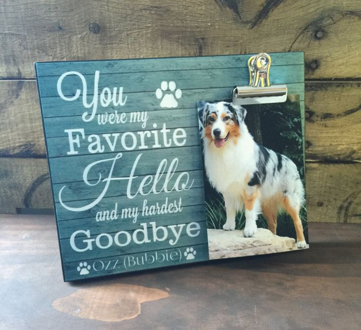 Pet Picture Frame, You Were My Favorite Hello and my Hardest Goodbye, Dog Memorial Frame, Thinking of You Gift by LoveSmallTownUSA on Etsy https://www.etsy.com/listing/268811895/pet-picture-frame-you-were-my-favorite