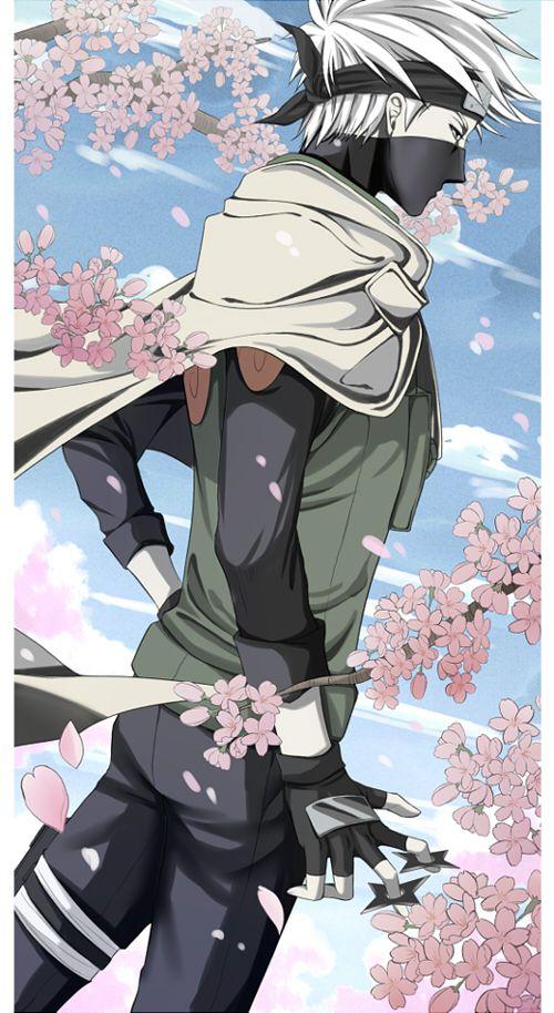 Kakashi among the Sakura flowers